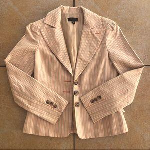 Bebe Lined Tan Orange Striped Work Blazer Jacket 4